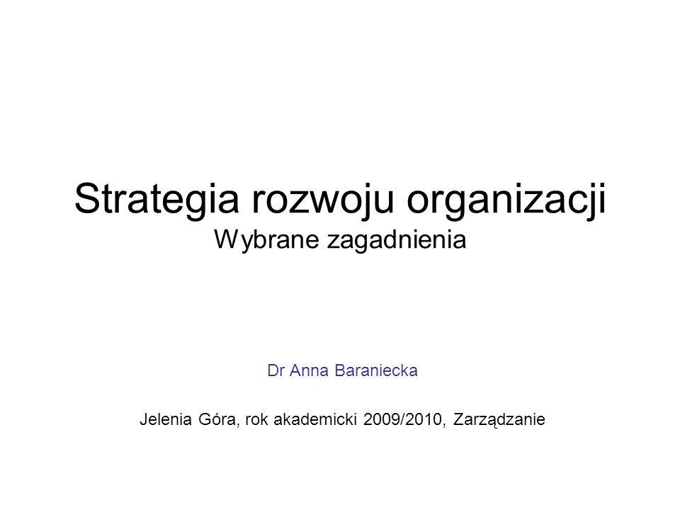 Strategia rozwoju organizacji Wybrane zagadnienia
