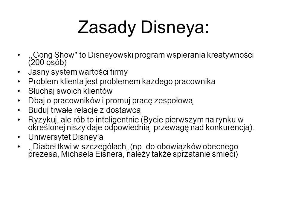 Zasady Disneya:,,Gong Show to Disneyowski program wspierania kreatywności (200 osób) Jasny system wartości firmy.