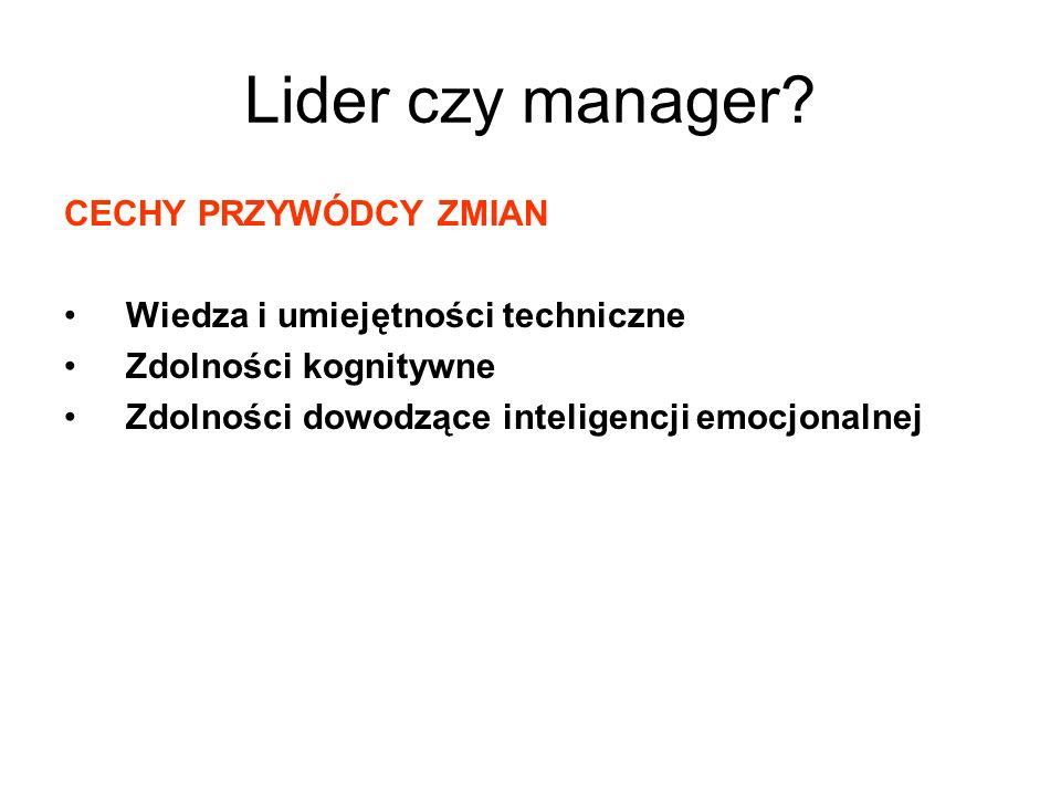 Lider czy manager CECHY PRZYWÓDCY ZMIAN