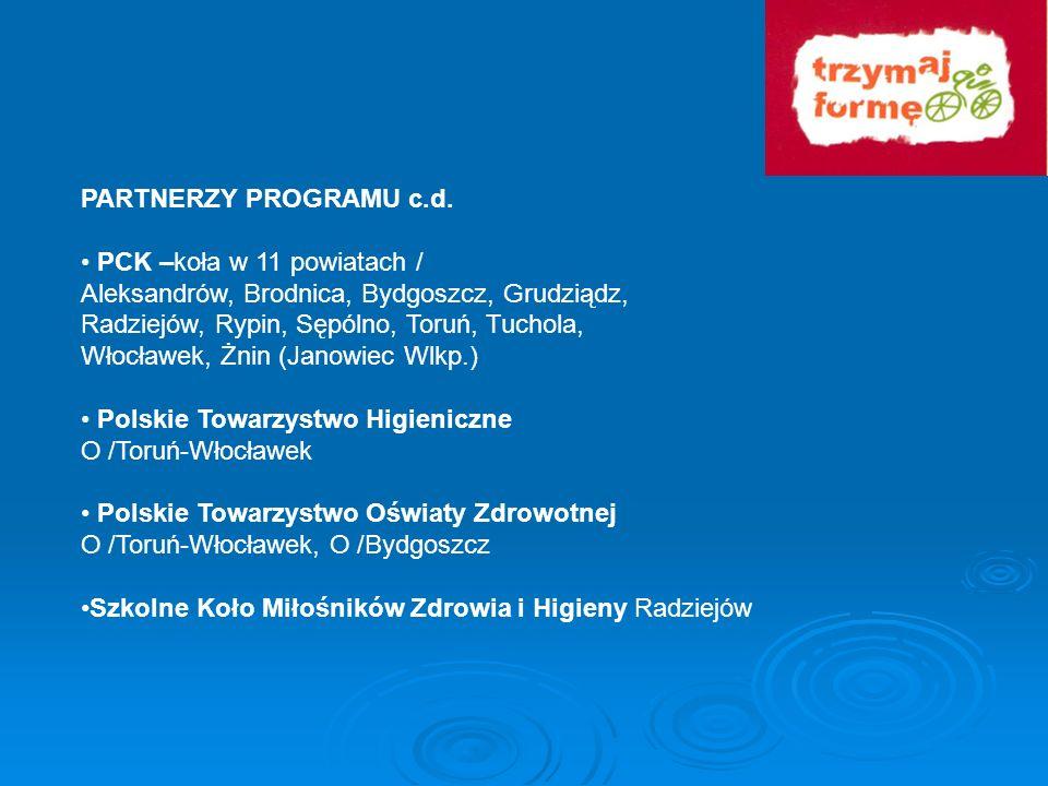 PARTNERZY PROGRAMU c.d.• PCK –koła w 11 powiatach / Aleksandrów, Brodnica, Bydgoszcz, Grudziądz, Radziejów, Rypin, Sępólno, Toruń, Tuchola,