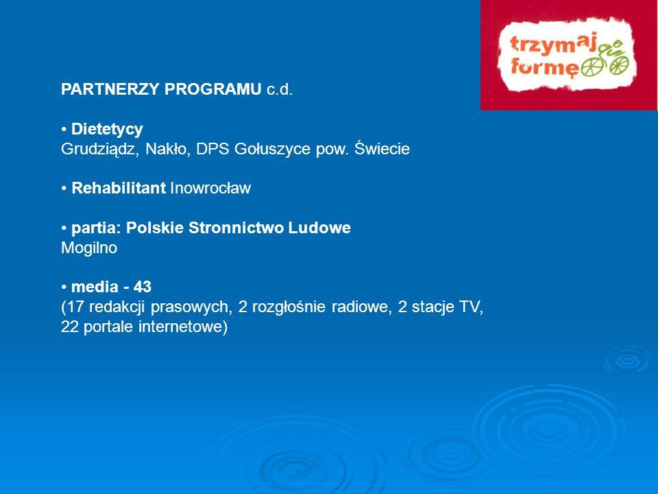 PARTNERZY PROGRAMU c.d.• Dietetycy. Grudziądz, Nakło, DPS Gołuszyce pow. Świecie. • Rehabilitant Inowrocław.