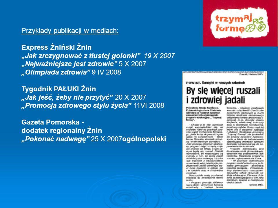 Przykłady publikacji w mediach:
