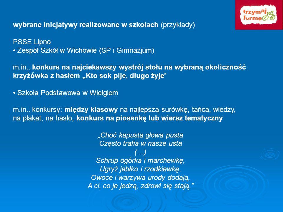 wybrane inicjatywy realizowane w szkołach (przykłady) PSSE Lipno