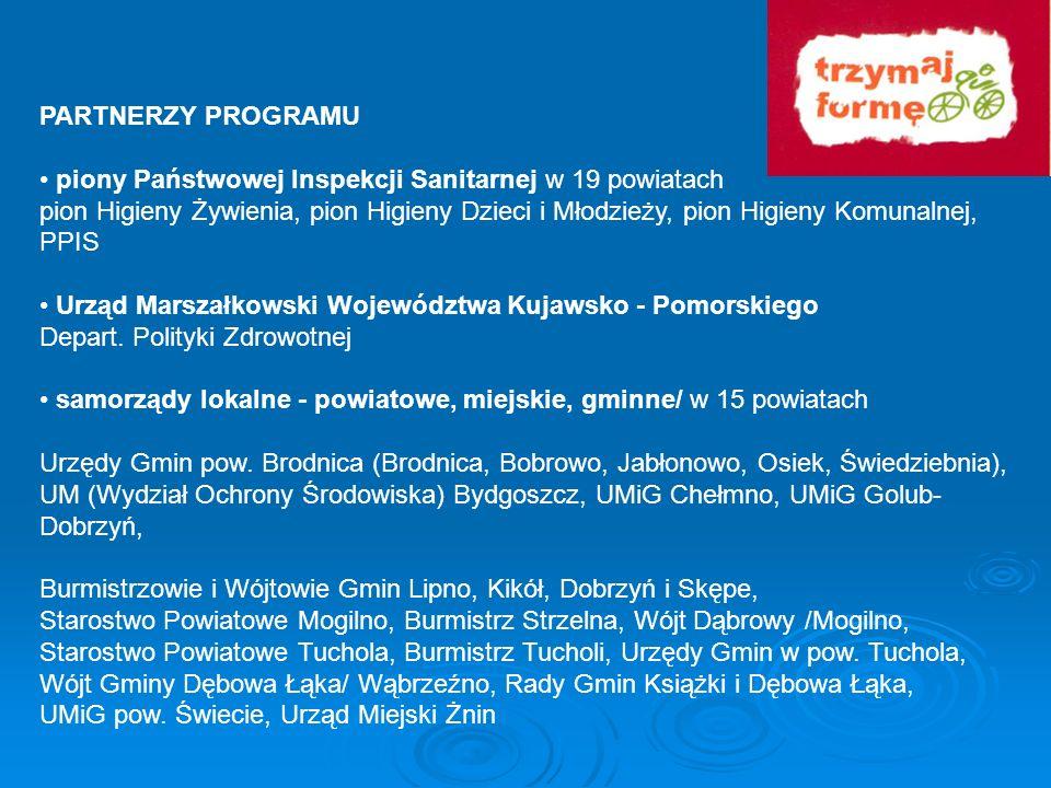 PARTNERZY PROGRAMU • piony Państwowej Inspekcji Sanitarnej w 19 powiatach.