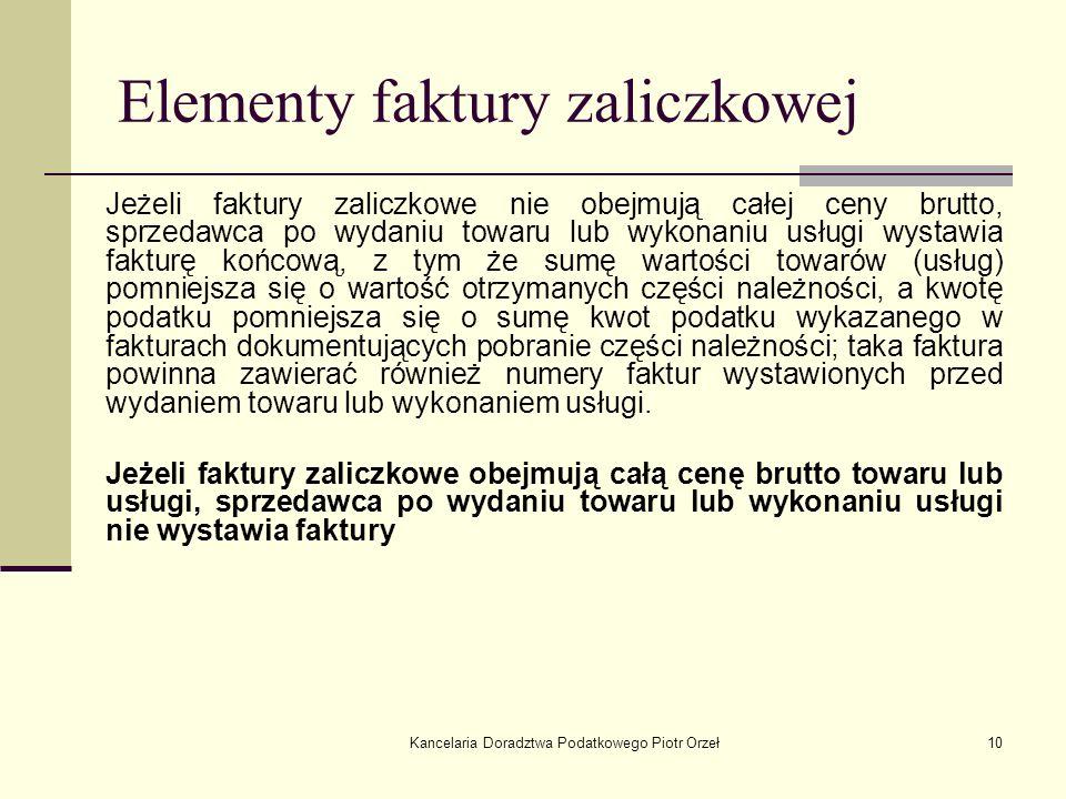 Elementy faktury zaliczkowej