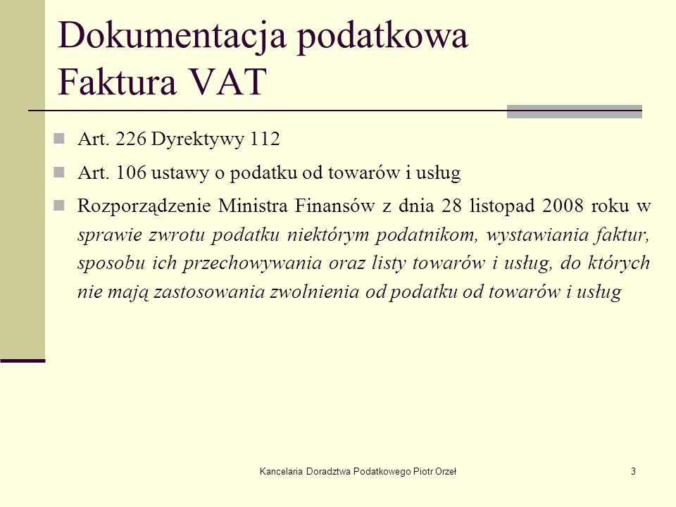 Dokumentacja podatkowa Faktura VAT