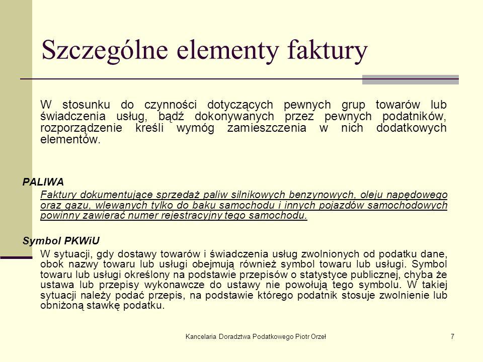 Szczególne elementy faktury