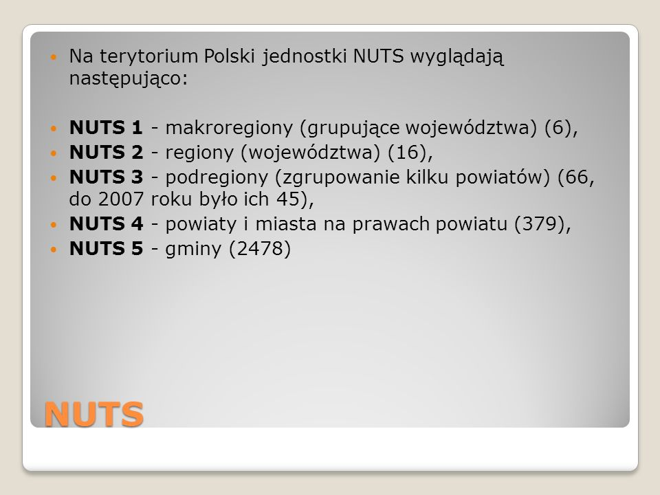 NUTS Na terytorium Polski jednostki NUTS wyglądają następująco: