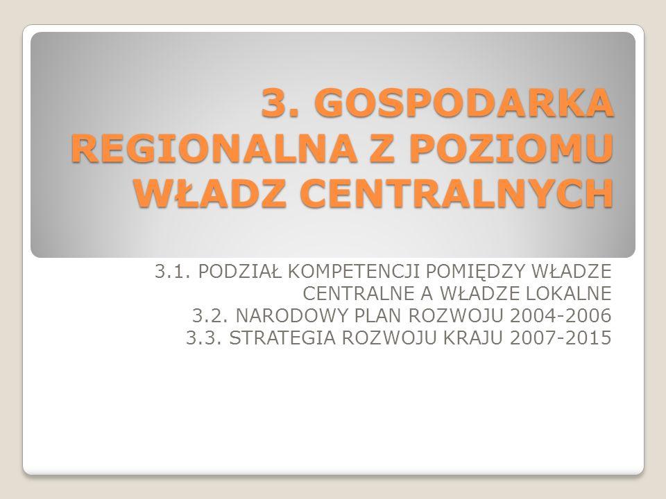 3. GOSPODARKA REGIONALNA Z POZIOMU WŁADZ CENTRALNYCH