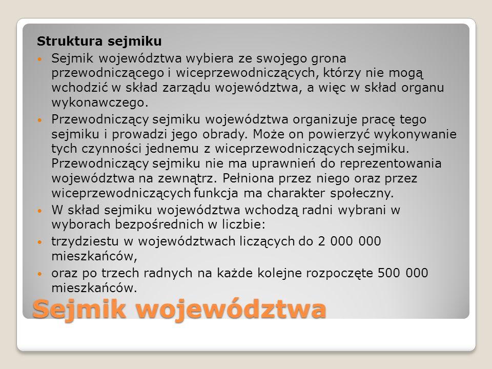 Sejmik województwa Struktura sejmiku