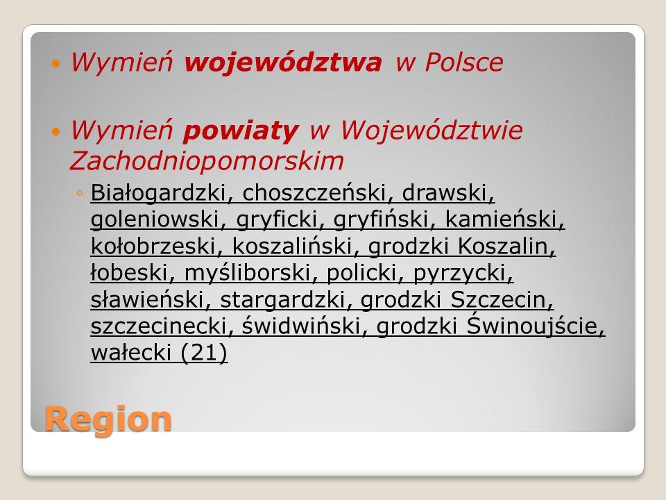 Region Wymień województwa w Polsce