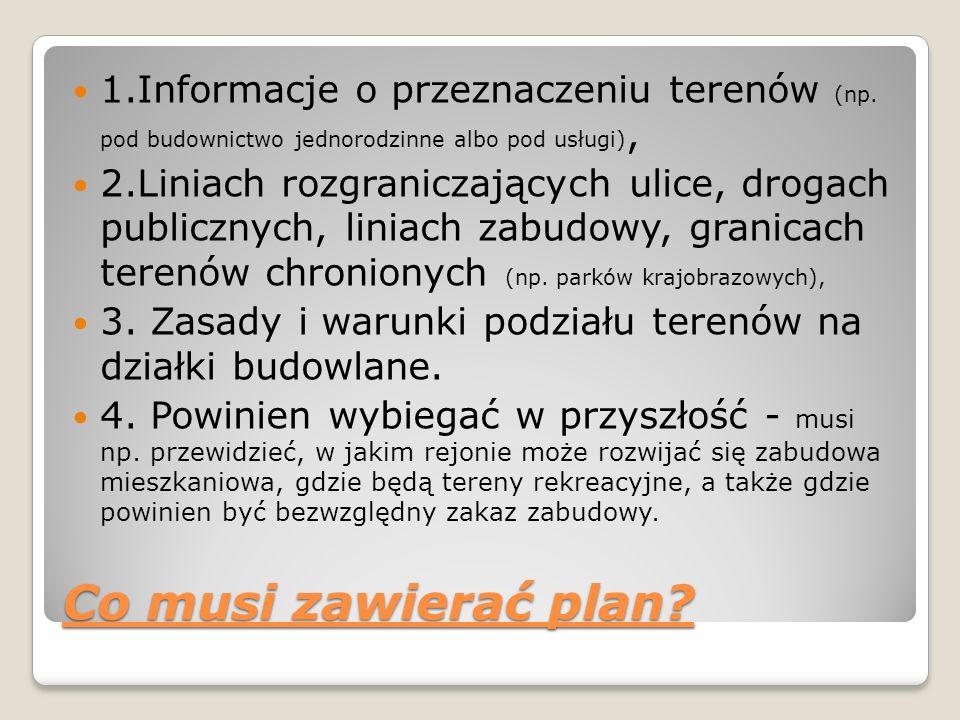 1. Informacje o przeznaczeniu terenów (np