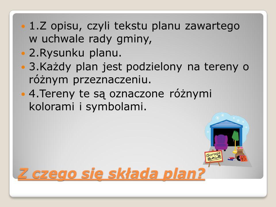 1.Z opisu, czyli tekstu planu zawartego w uchwale rady gminy,