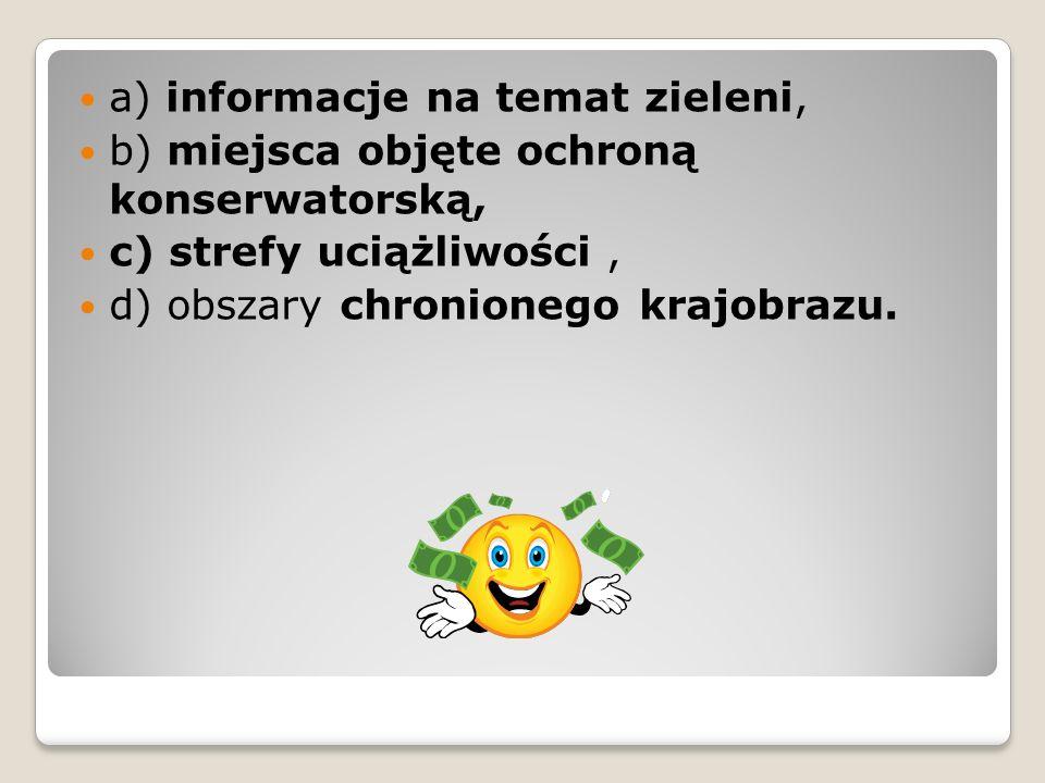 a) informacje na temat zieleni,