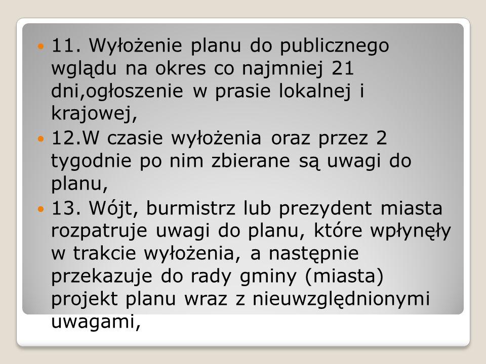 11. Wyłożenie planu do publicznego wglądu na okres co najmniej 21 dni,ogłoszenie w prasie lokalnej i krajowej,