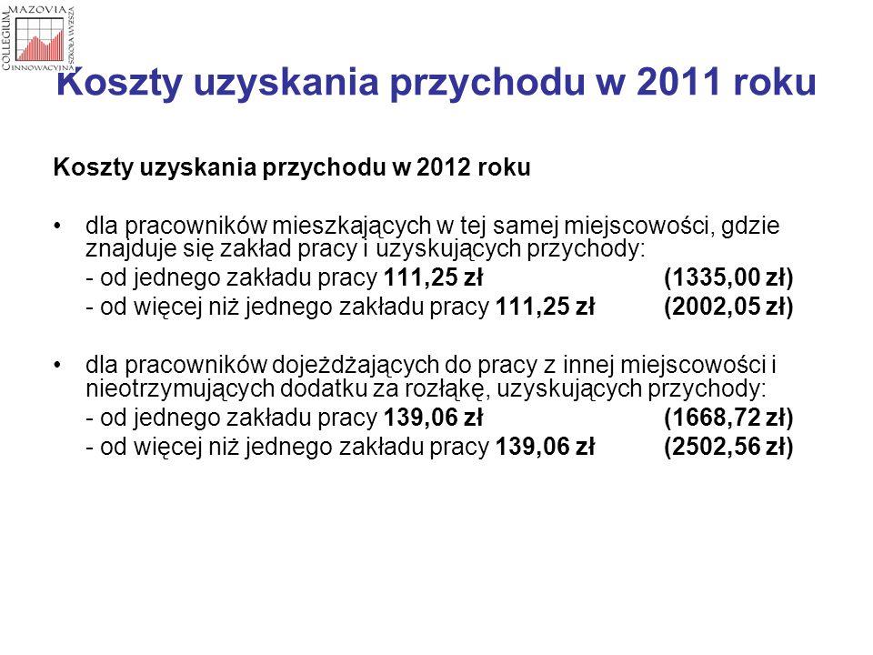 Koszty uzyskania przychodu w 2011 roku