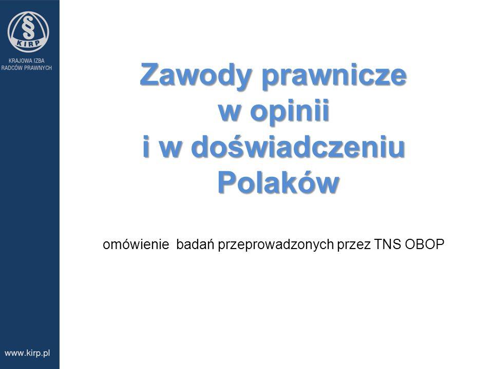 Zawody prawnicze w opinii i w doświadczeniu Polaków omówienie badań przeprowadzonych przez TNS OBOP