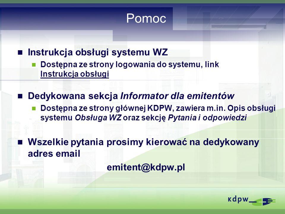 Pomoc Instrukcja obsługi systemu WZ