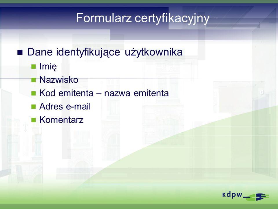 Formularz certyfikacyjny
