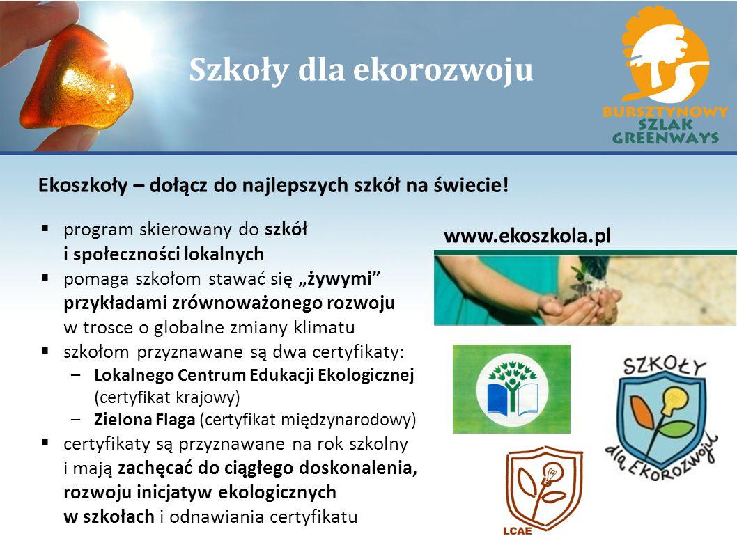 Szkoły dla ekorozwoju Ekoszkoły – dołącz do najlepszych szkół na świecie! program skierowany do szkół i społeczności lokalnych.