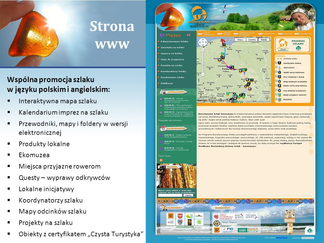 Strona www Wspólna promocja szlaku w języku polskim i angielskim: