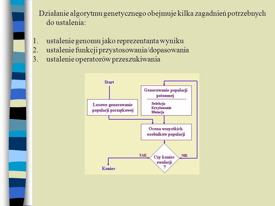 Działanie algorytmu genetycznego obejmuje kilka zagadnień potrzebnych do ustalenia: