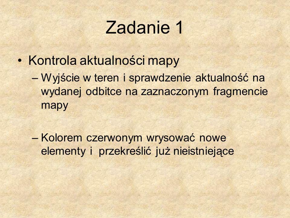 Zadanie 1 Kontrola aktualności mapy