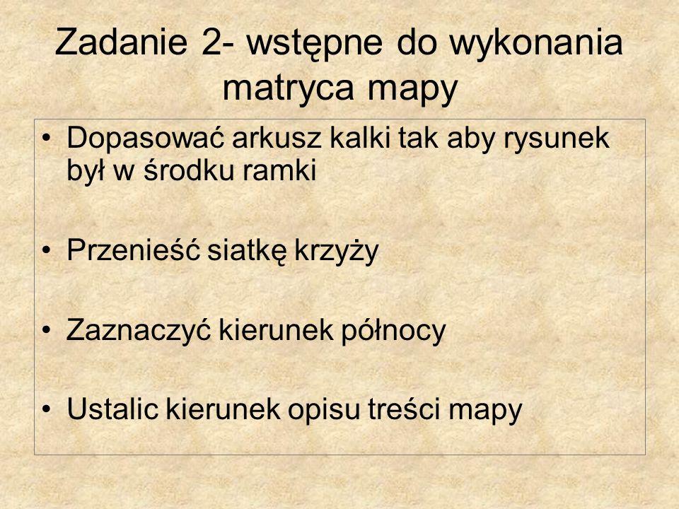 Zadanie 2- wstępne do wykonania matryca mapy