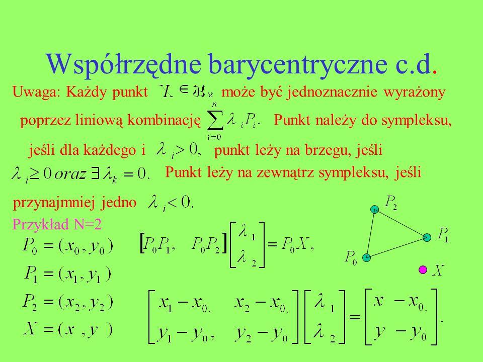 Współrzędne barycentryczne c.d.