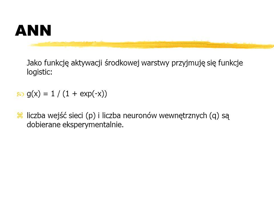ANNJako funkcję aktywacji środkowej warstwy przyjmuję się funkcje logistic: g(x) = 1 / (1 + exp(-x))