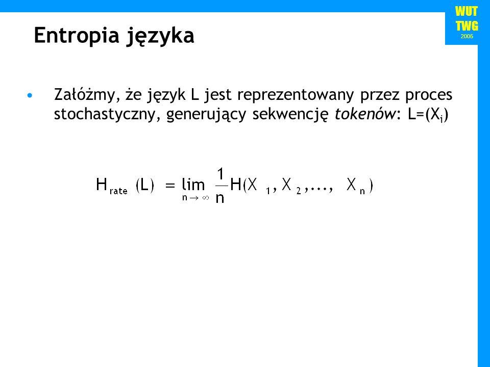 Entropia języka Załóżmy, że język L jest reprezentowany przez proces stochastyczny, generujący sekwencję tokenów: L=(Xi)