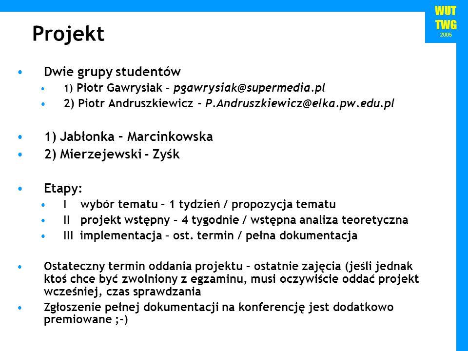 Projekt Dwie grupy studentów 1) Jabłonka – Marcinkowska