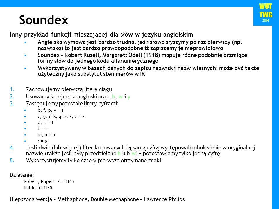 Soundex Inny przykład funkcji mieszającej dla słów w języku angielskim