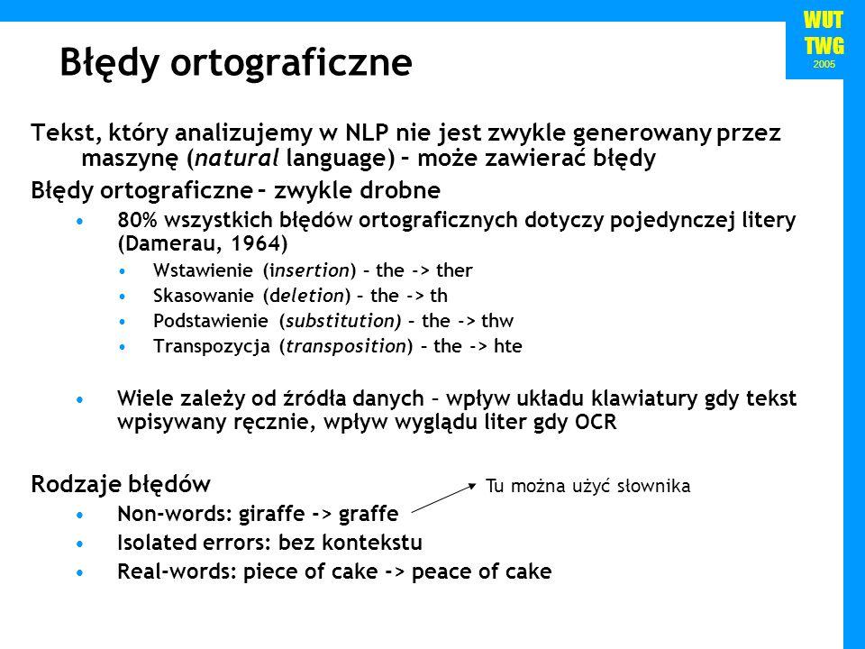 Błędy ortograficzne Tekst, który analizujemy w NLP nie jest zwykle generowany przez maszynę (natural language) – może zawierać błędy.