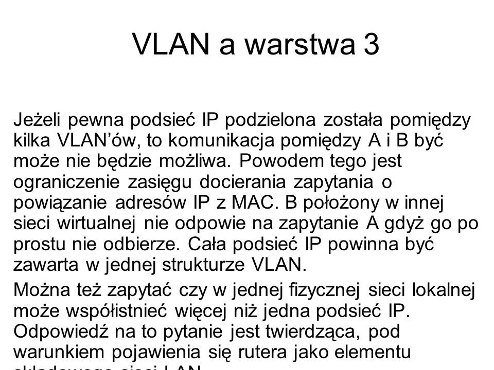VLAN a warstwa 3