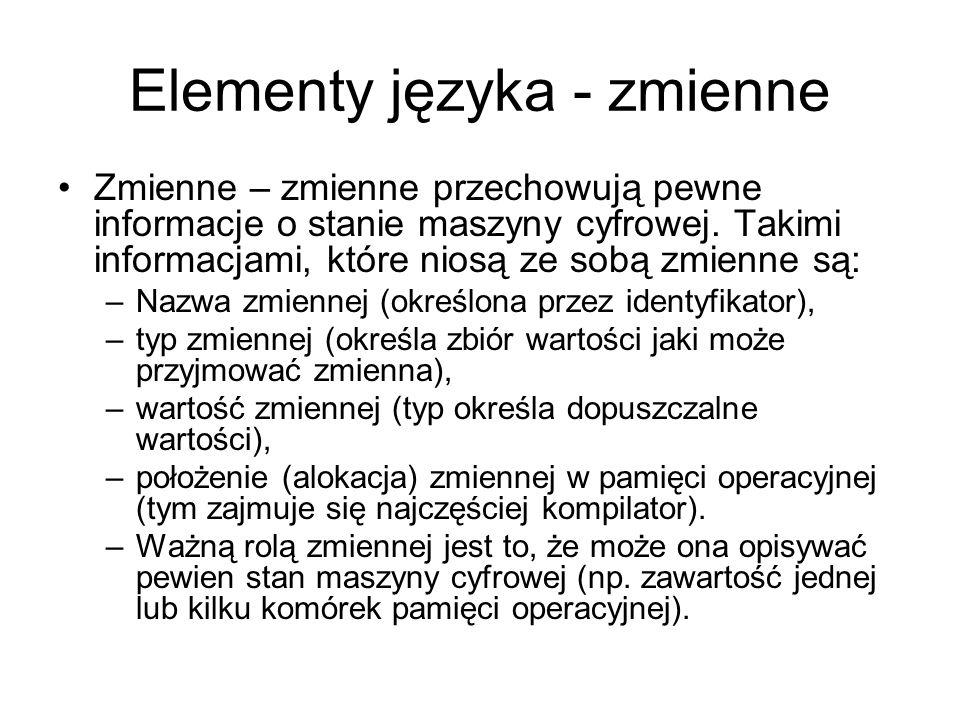 Elementy języka - zmienne