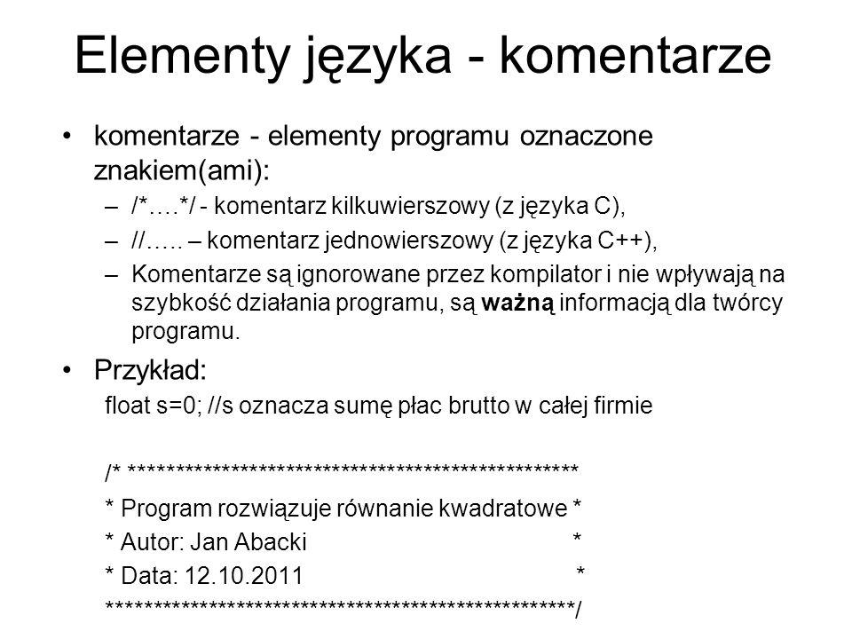 Elementy języka - komentarze