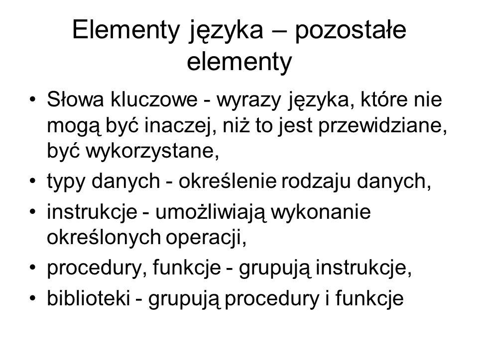 Elementy języka – pozostałe elementy