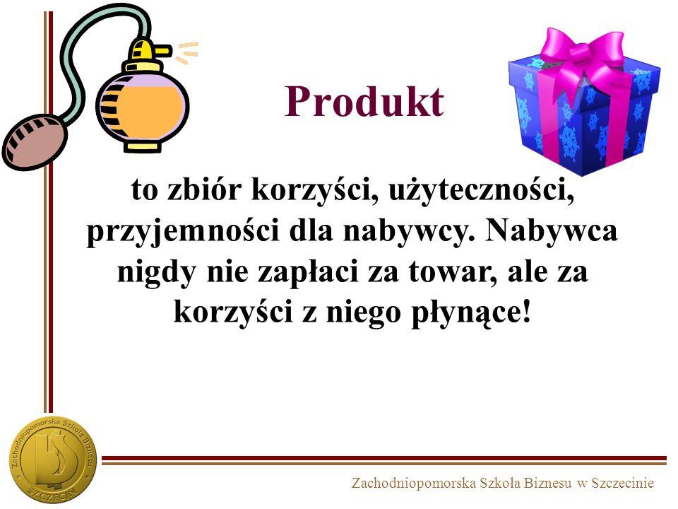 Produkt to zbiór korzyści, użyteczności, przyjemności dla nabywcy.