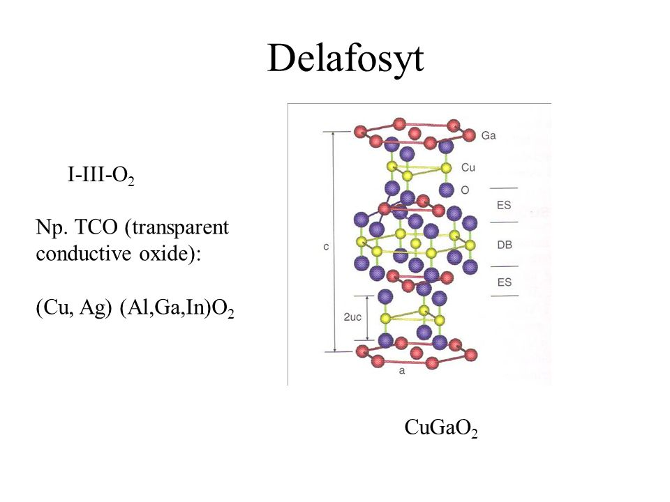 Delafosyt I-III-O2 Np. TCO (transparent conductive oxide):