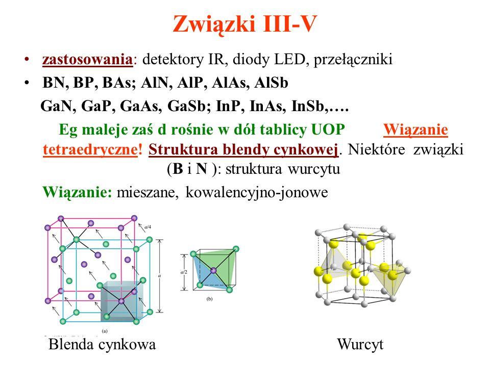 Związki III-V zastosowania: detektory IR, diody LED, przełączniki