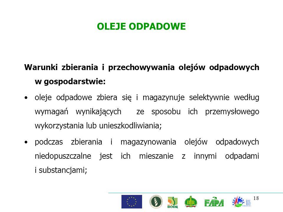 OLEJE ODPADOWE Warunki zbierania i przechowywania olejów odpadowych w gospodarstwie: