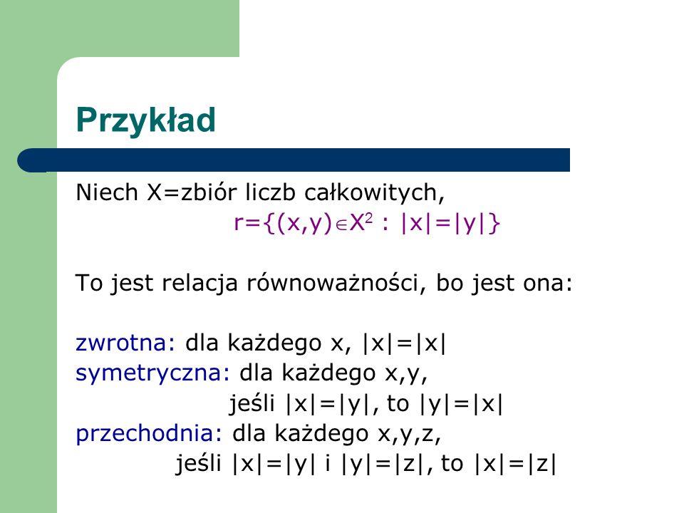 Przykład Niech X=zbiór liczb całkowitych, r={(x,y)X2 : |x|=|y|}