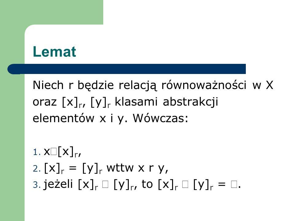 Lemat Niech r będzie relacją równoważności w X