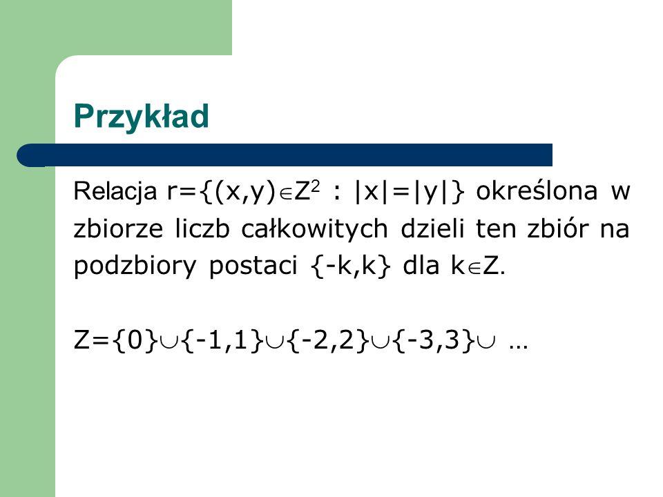 Przykład Relacja r={(x,y)Z2 : |x|=|y|} określona w