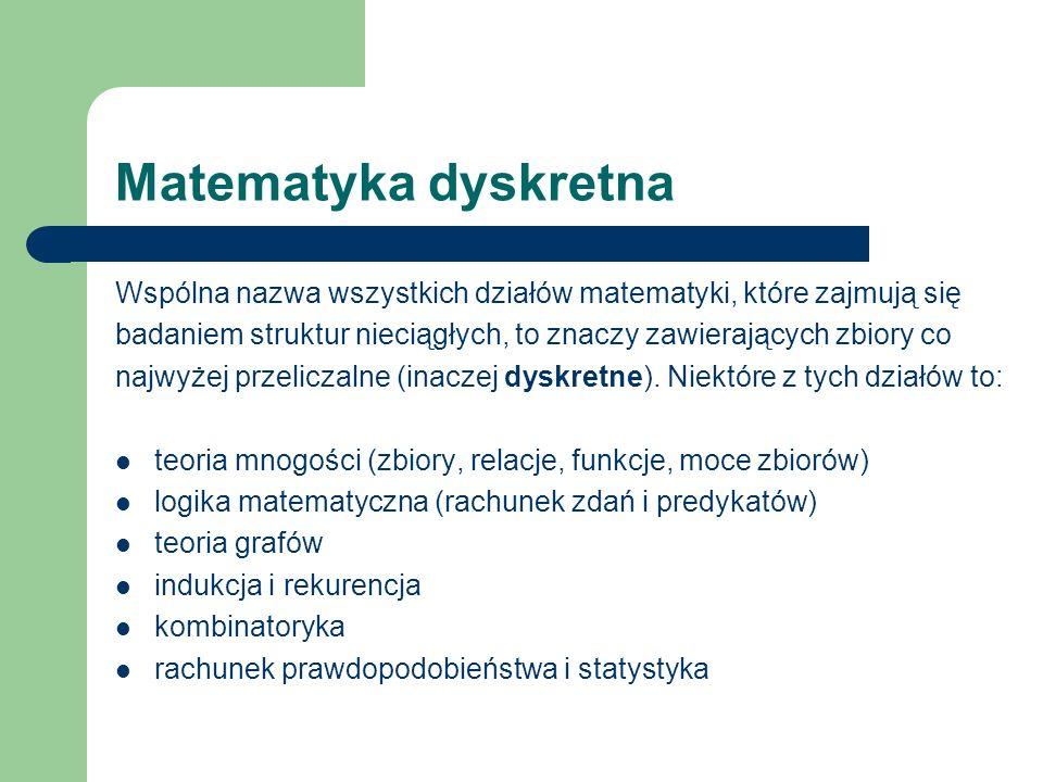 Matematyka dyskretna Wspólna nazwa wszystkich działów matematyki, które zajmują się.