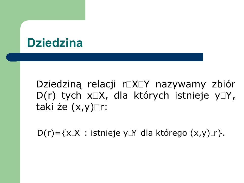 D(r)={xÎX : istnieje yÎY dla którego (x,y)Îr}.