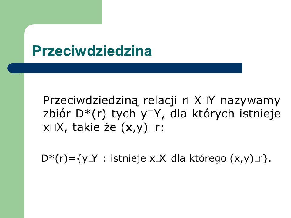 D*(r)={yÎY : istnieje xÎX dla którego (x,y)Îr}.