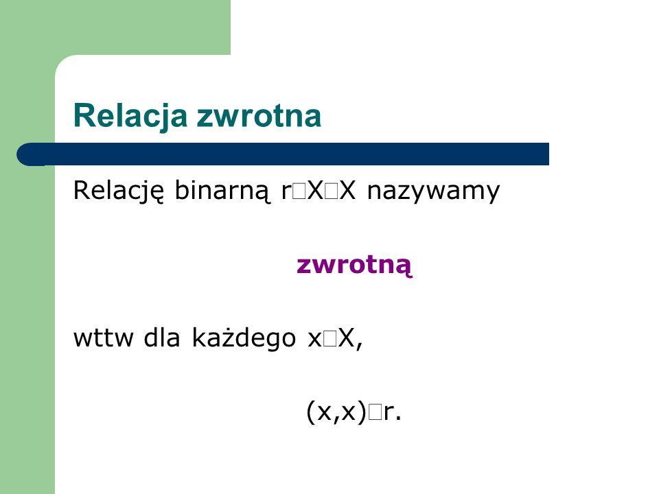 Relacja zwrotna Relację binarną rÍX´X nazywamy zwrotną