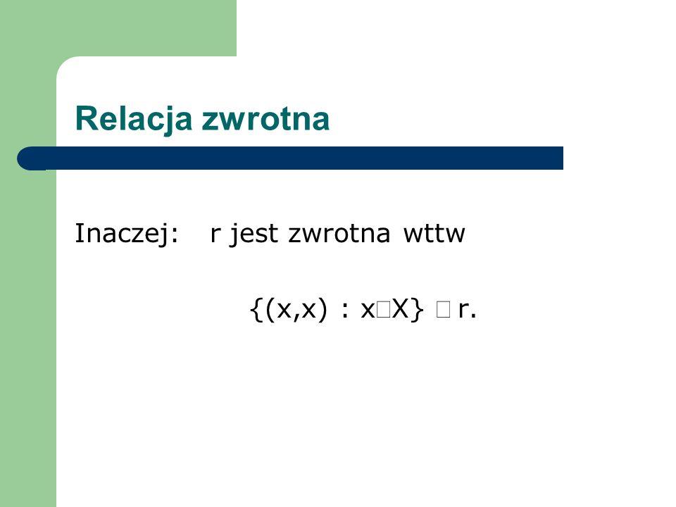Relacja zwrotna Inaczej: r jest zwrotna wttw {(x,x) : xÎX} Í r.